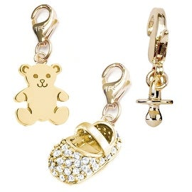 Julieta Jewelry White Baby Shoe, Teddy Bear, Pacifier 14k Gold Over Sterling Silver Clip-On Charm Set