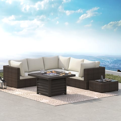 Corvus Kipling 7-piece Wicker Patio Sectional Deep Seating Conversation Set with Fire Pit