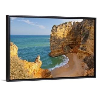 """Dona Ana Beach Lagos, Algarve, Portugal."" Black Float Frame Canvas Art"