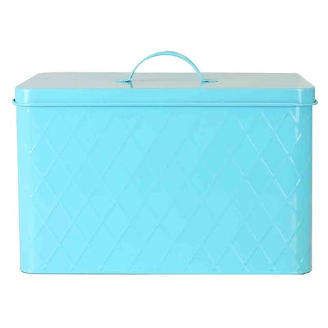 Home Basics Vintage Tin Bread Box, Argyle Pattern, Turquoise, 13.25x8.5x10 Inches