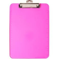 Pink - Low Profile Neon Plastic Clipboard