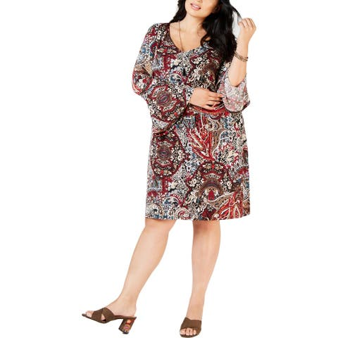 Connected Apparel Womens Plus Casual Dress Paisley Bell Sleeves - Wine