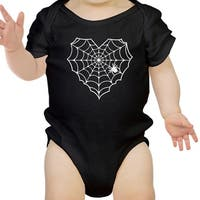 Heart Spider Web Baby Halloween Bodysuit Black Cotton Infant Bodysuit