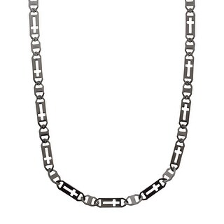 Men's Cross Link Necklace in Stainless Steel - Black