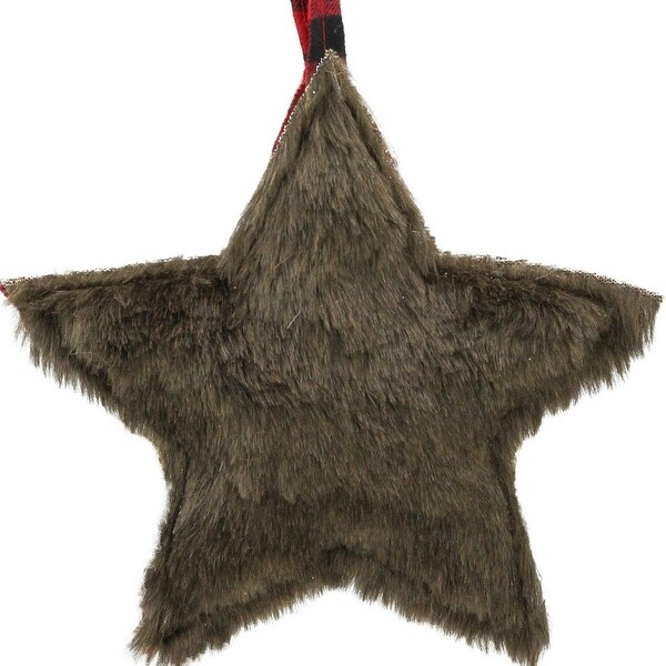 "8"" Brown Faux Fur Star Christmas Ornament Decoration"
