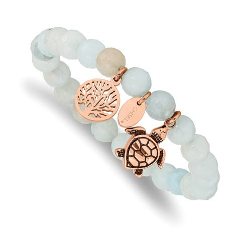 Chisel Stainless Steel Antiqued and Polished Rose IP-plated Blue and Grey Dyed Jade Slip On Bracelet