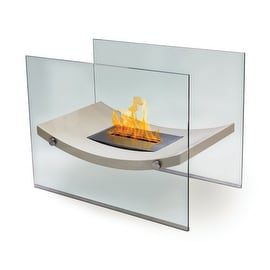 Broadway (High Gloss Light Beige) Bio Ethanol Ventless Fireplace