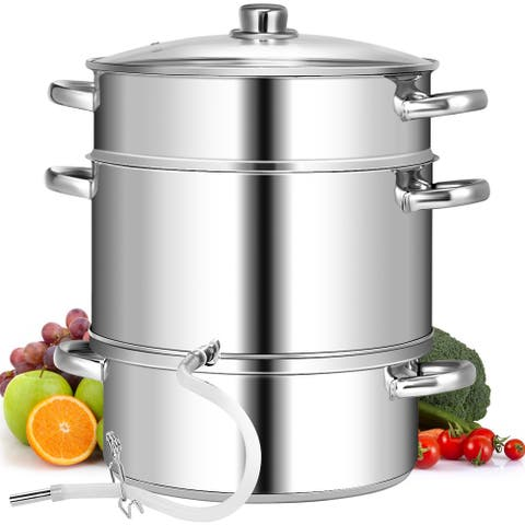 10 Quart Stainless Steel Fruit Juicer Steamer Multipot w/ Tempered