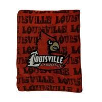 NCAA Louisville Cardinals Micro Raschel Plush Throw Blanket 46 x 60 inch - Red