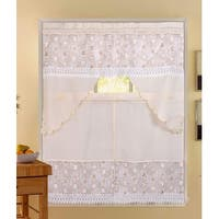 Hannah 3-Piece Floral Embroidered Kitchen Curtain Set, Beige, Tiers 30x36, Swag 60x36 Inches - N/A