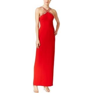 Calvin Klein Womens Evening Dress Beaded Crepe