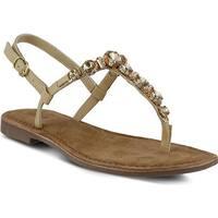 Azura Women's Malaysia Thong Sandal Beige Leather