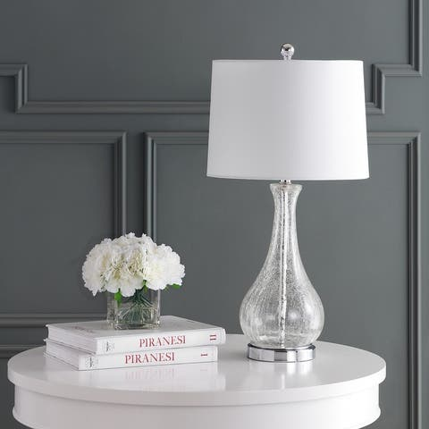 "Safavieh Lighting Finnley 28-inch Crackle Glass LED Table Lamp - 14"" W x 14"" L x 27.5"" H"