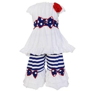 AnnLoren Little Girls White Navy Polka Dot Ruffle Bow Pant Outfit