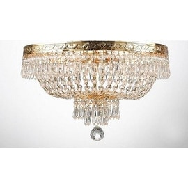 """French Empire Crystal Flush Ceiling Chandelier Lighting H 14"""" W 17"""" 4 Lights"""