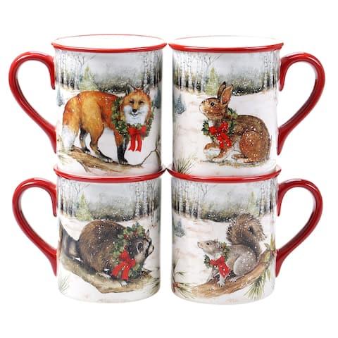 Certified International Winter Forest 16 oz. Mugs (Set of 4)
