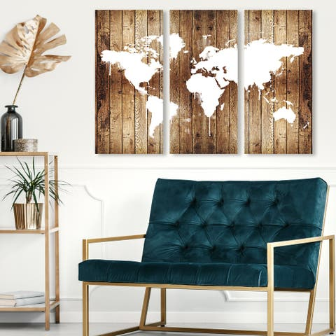 Oliver Gal 'Mapamundi Wood Triptych' Maps and Flags Wall Art Canvas Print Set - Brown, White