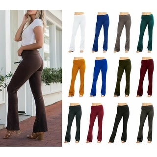 Link to NioBe Clothing Womens Cotton Foldover Boot Cute Flare Yoga Pants Similar Items in Pants