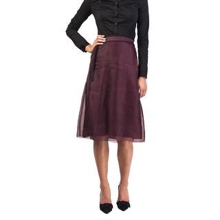 Prada Women's Silk Skirt Maroon - 8