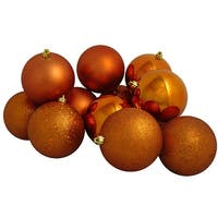 "12ct Burnt Orange Shatterproof 4-Finish Christmas Ball Ornaments 4"" (100mm)"