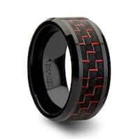 Antonius Beveled Black Ceramic Wedding Band With Black Red Carbon Fiber