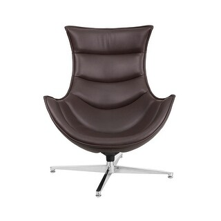 Offex Brown Leather Swivel Cocoon Chair
