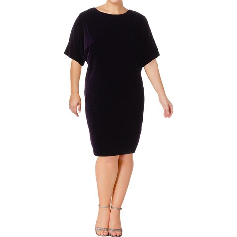 Lauren Ralph Lauren Womens Keaira Casual Dress Short Sleeves Knee-Length