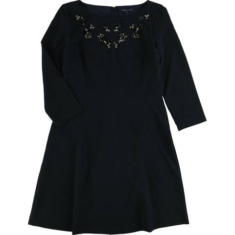 Tommy Hilfiger Womens LS Embellished A-line Dress, Blue, 8
