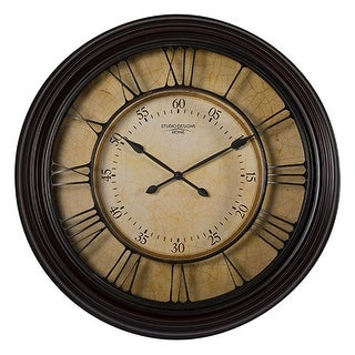 """Offex Home 29"""" Traditional Chateau Wall Clock in Dark Brown"""
