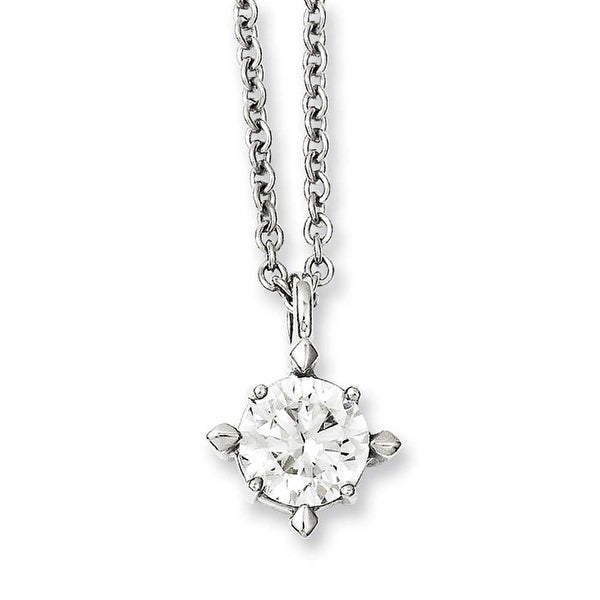 "Stainless Steel 18"" CZ Pendant Necklace (1 mm) - 18 in"