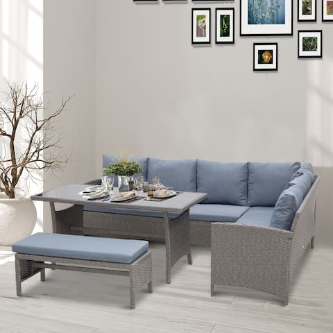 Outsunny 4 Piece Modern Outdoor Rattan Wicker Furniture Set with Dining Table Bench & Sofa for Patio & Backyard Grey