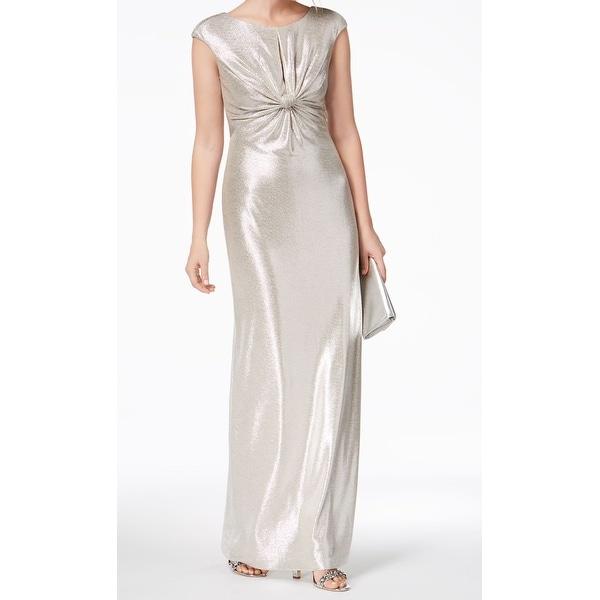Vince Camuto Silver Metallic Twist Women's Size 12 Gown Dress