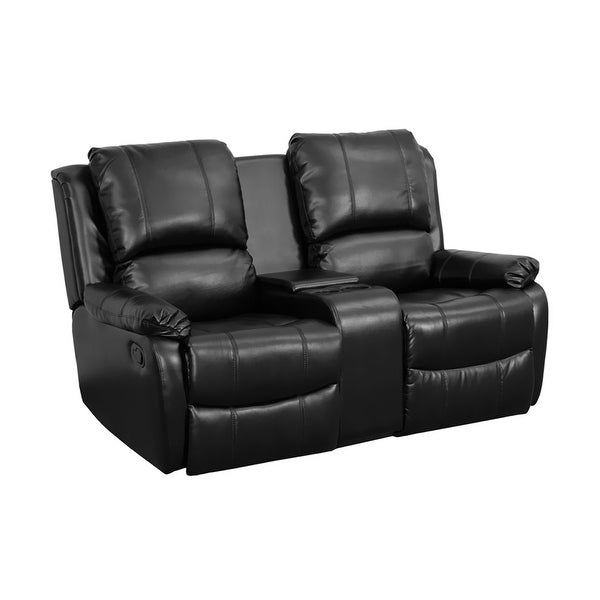 LOT OF 2 BLACK LEATHER 2-SEAT HOME THEATER RECLINERS WITH STORAGE CONSOLE
