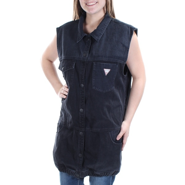 f05df9108b4 GUESS $128 Womens New 1024 Black Button Up Collared Sleeveless Vest M B+B