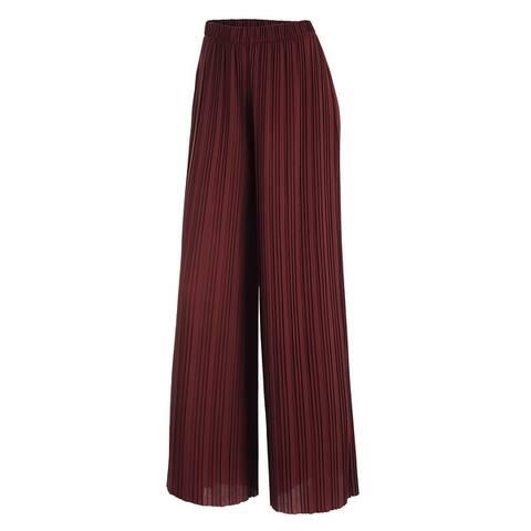 Women's Premium Pleated Maxi Wide Leg Palazzo Pants Gaucho- High Waist