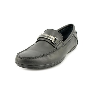 Calvin Klein Wallace Men Round Toe Leather Black Loafer