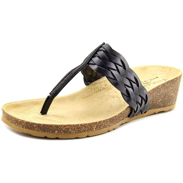 Easy Street Bene Women WW Open Toe Synthetic Black Thong Sandal
