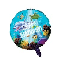 """Club Pack of 10 Ocean Party Metallic """"Happy Birthday"""" Foil Party Balloons - Blue"""