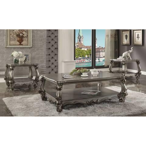 ACME Versailles End Table, Antique Platinum