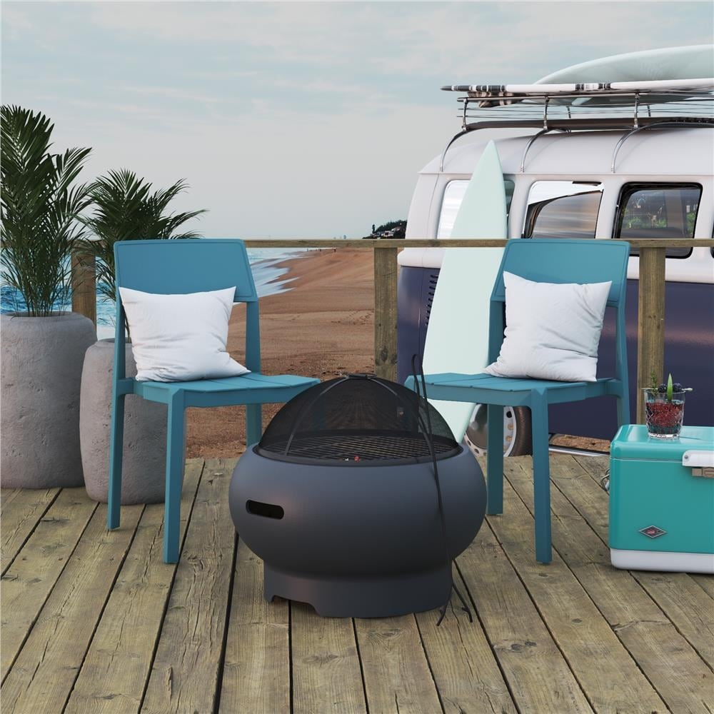 Novogratz Poolside Collection Asher 22 inch Wood Burning Fire Pit with Grilling Surface - Overstock - 30805798