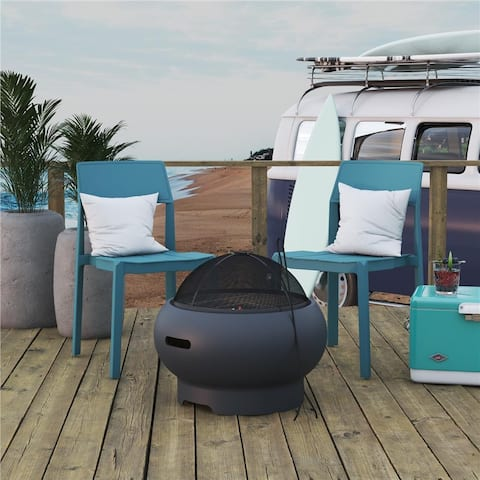Novogratz Poolside Collection Asher 22 inch Wood Burning Fire Pit with Grilling Surface