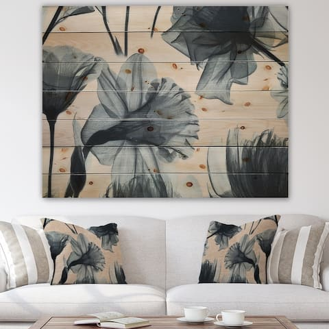Designart 'Mottled Fabric Vintage Flowers' Farmhouse Print on Natural Pine Wood