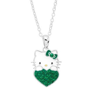 Girl's Hello Kitty May Heart Pendant with Crystals in Sterling Silver-Plated Brass