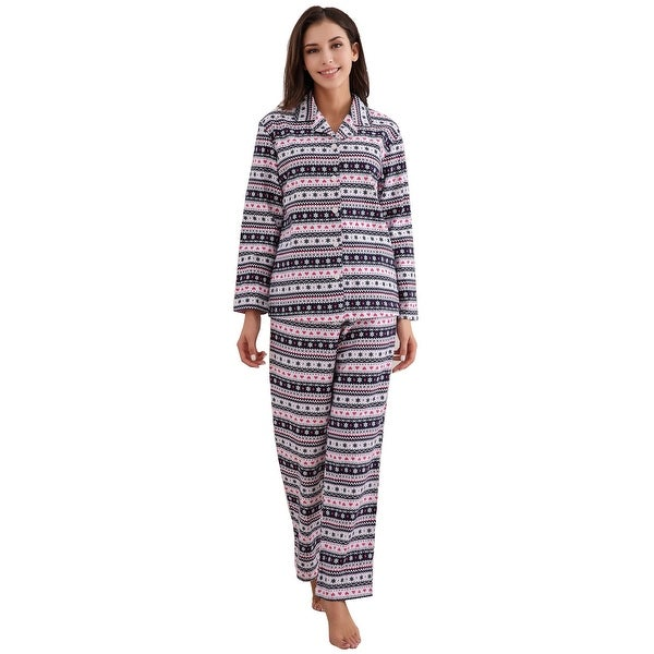 Richie House Women's Cotton Printed Flannel Two-piece Set Pajama. Opens flyout.
