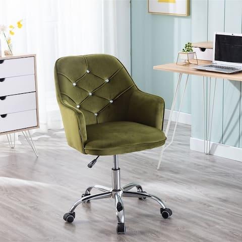 Merax Velvet Swivel Shell Chair for Living Room or Office