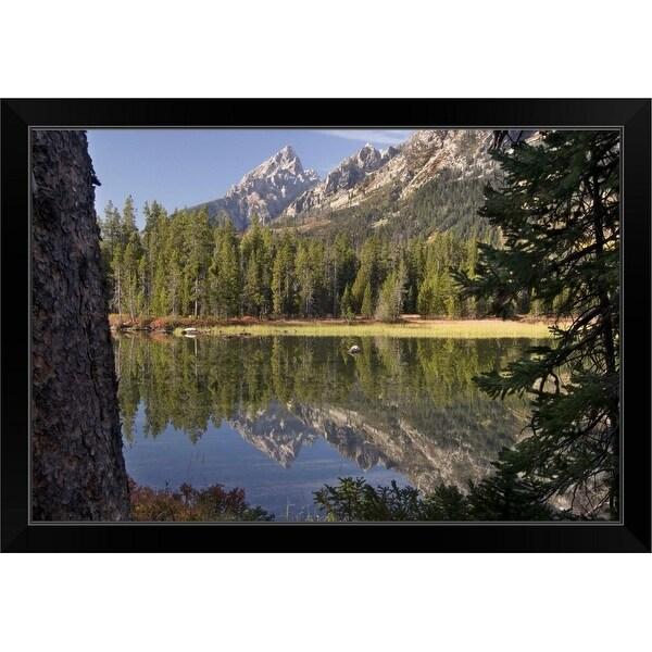 """Grand Teton and Mt Teewinot reflected into String Lake, Wyoming"" Black Framed Print"