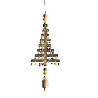 Moksha Christmas Tree Holiday Wind Chime with Nana Bell - Indoor/Outdoor Ornament - 5 in. x 13 in.