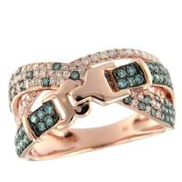 Prism Jewel 0.98Ct Blue Color Diamond with Natural Diamond Belt Type Ring