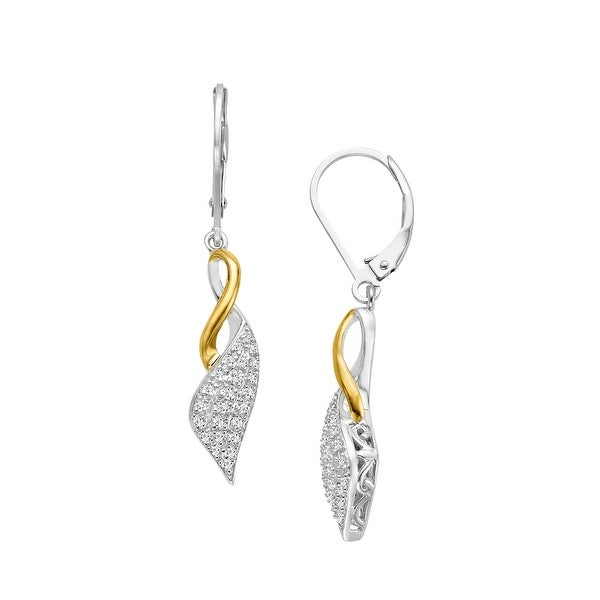 1/6 ct Diamond Ribbon Earrings in Sterling Silver & 14K Gold