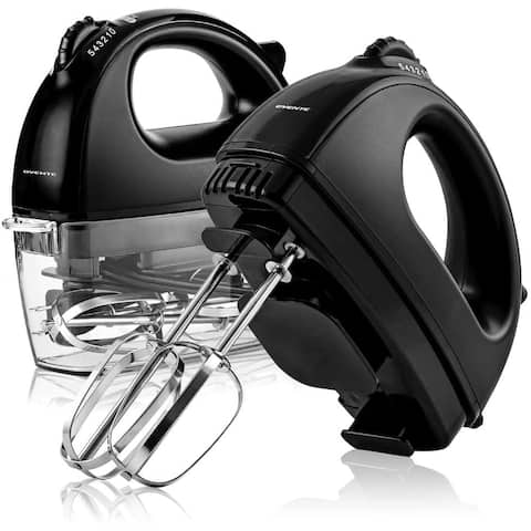Ovente Portable Electric Hand Mixer 5 Speed Mixing with 2 Chrome Beater Attachments & Snap Clear Case, 150 Watts, Black HM161B